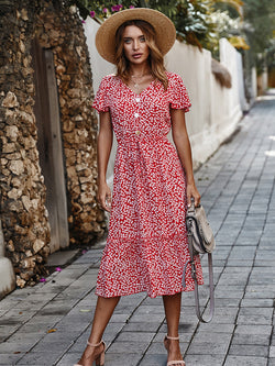 Floral V Neck Short Sleeve Long Dress