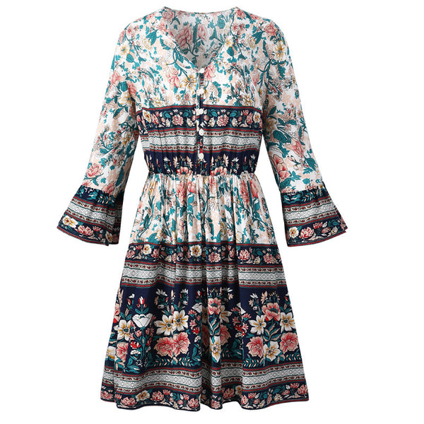 Boho Floral V Neck Ruffle Mini Dress