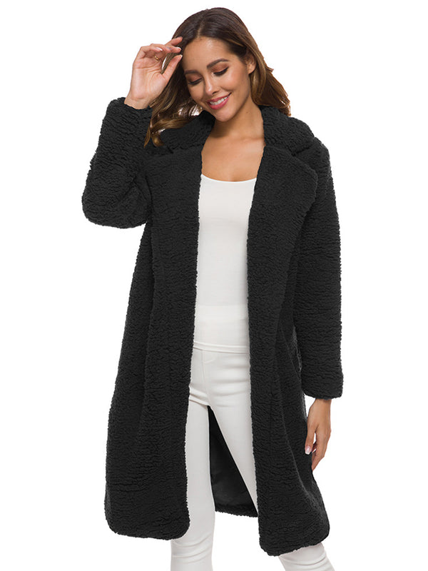 Long Sleeve Solid Color Midi Wool Coat