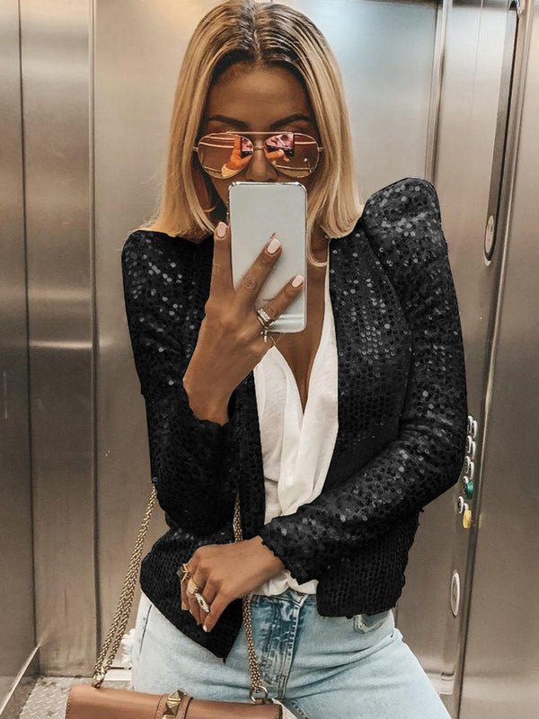 Shiny Sequin Long Sleeve Cropped Blazer