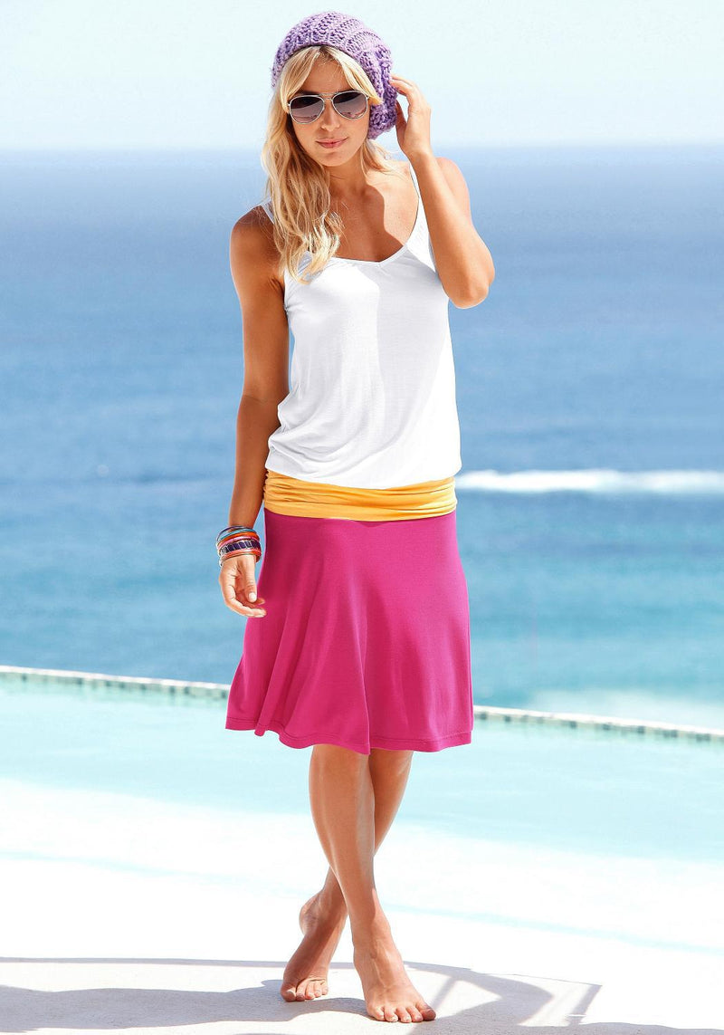 Spaghetti Strap Ruffle Colorblock Short Dress