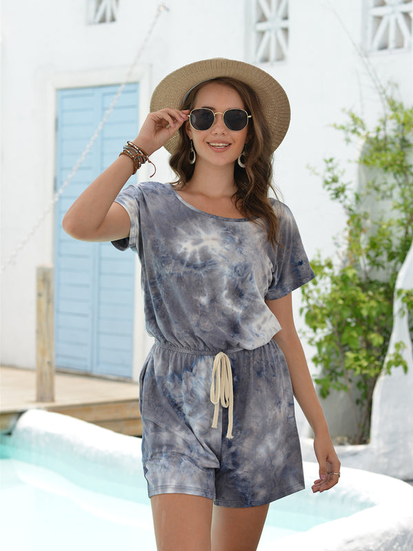 Short Sleeve Tie Dye Shorts Jumpsuit