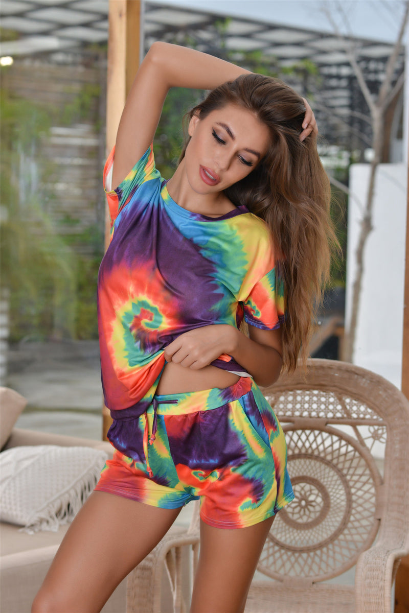Round Neck Tie Dye Short Sleeve Shorts Jumpsuit