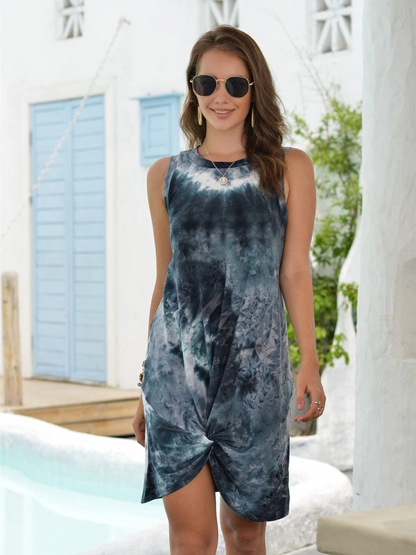 Round Neck Sleeveless Tie Dye Loose Dress