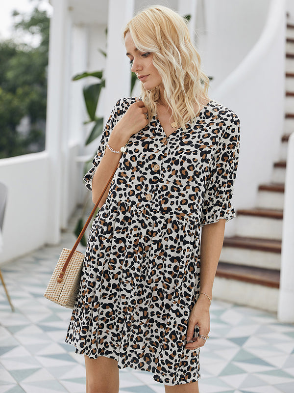 Leopard Printed V-neck Short Sleeves Short Dress