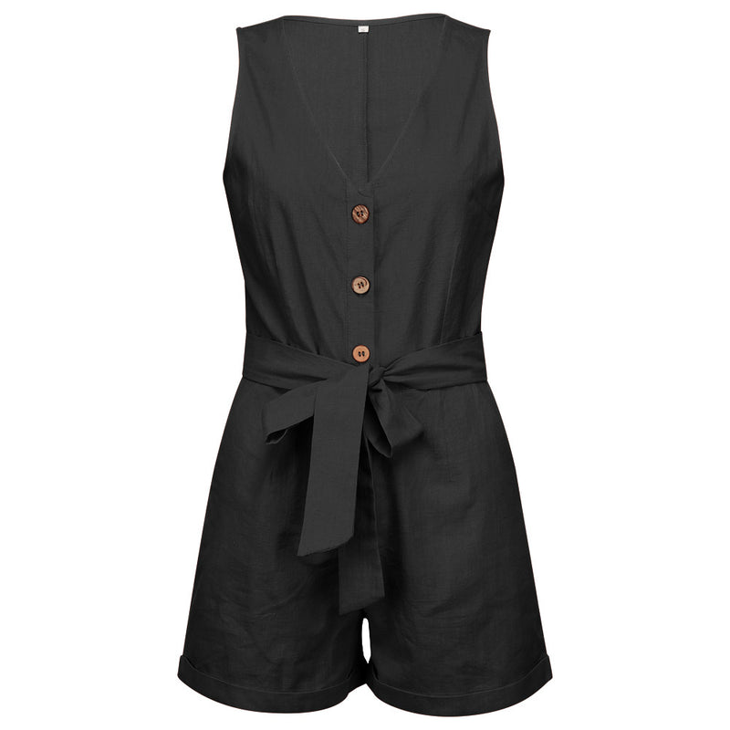 Waistband V-Neck Sleeveless Shorts Jumpsuit