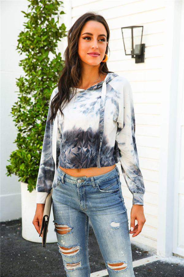 Hooded Tie Dye Long Sleeve Tops