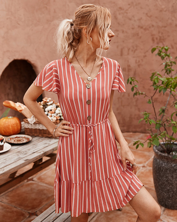 Short Sleeve Striped Short Dress