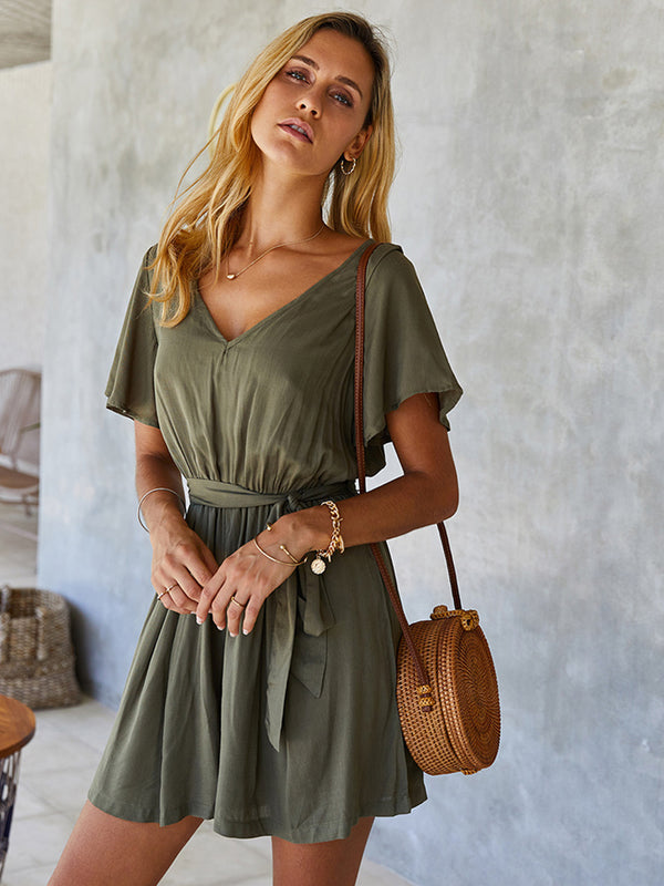 Short Sleeve Solid Color Waist Jumpsuit