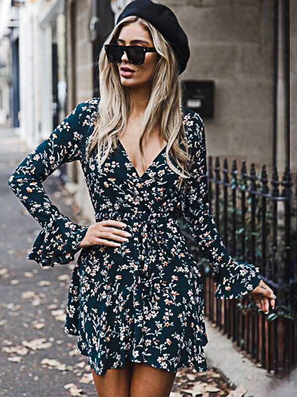 Trumpet Sleeve Floral V-Neck Mini Dress