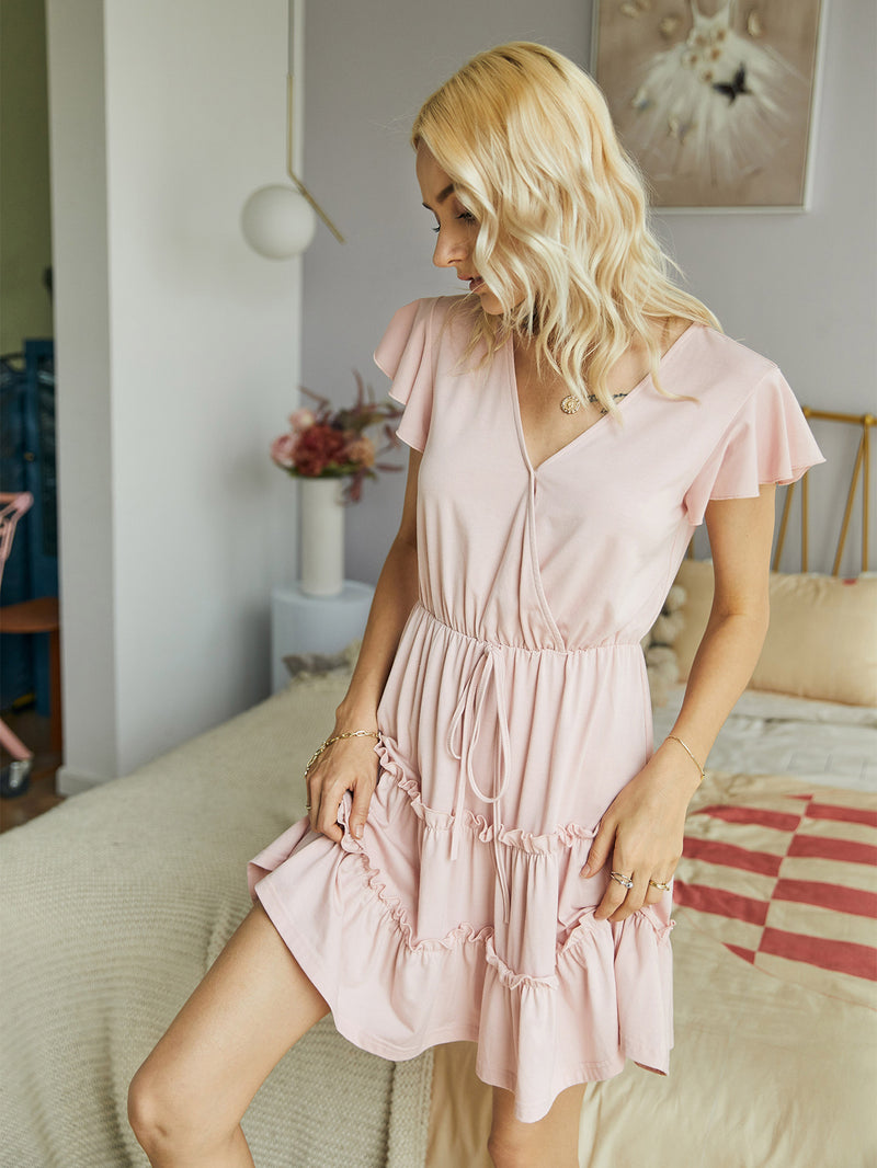 V-Neck Ruffle Short Sleeve Short Dress