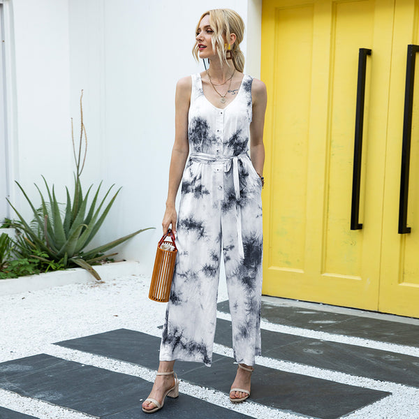Sleeveless Tie Dye Long Jumpsuit