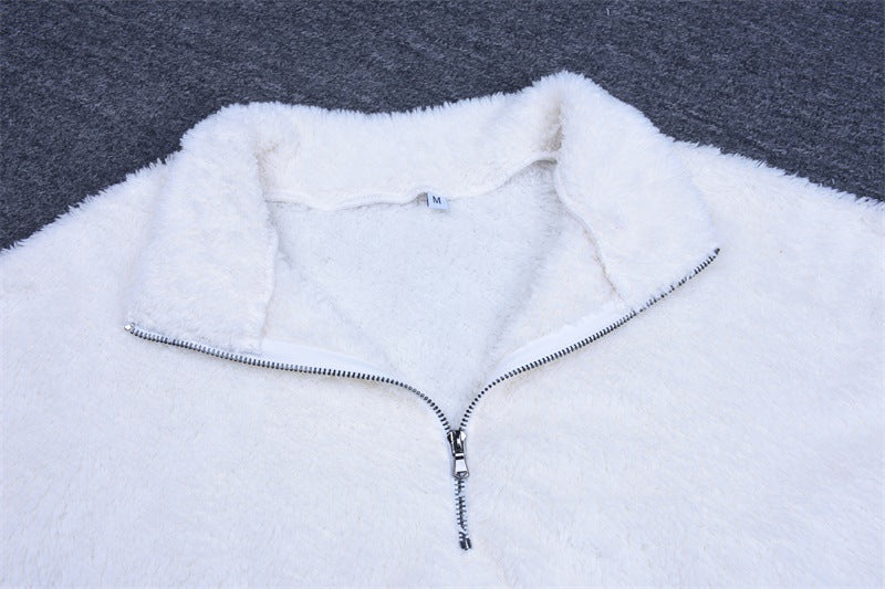 Lambswool Zipper Long Sleeve Sweater Top