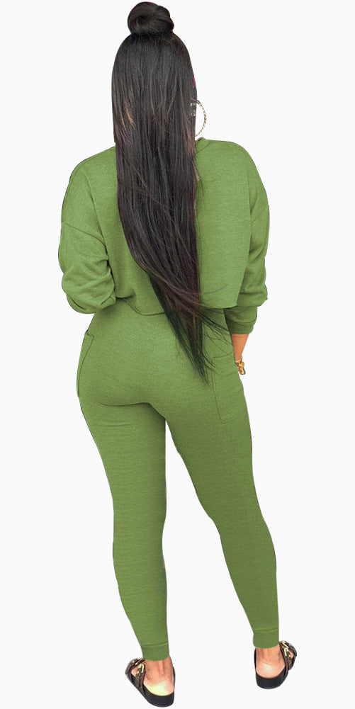 Casual Gym Long Sleeve Jumpsuit Set