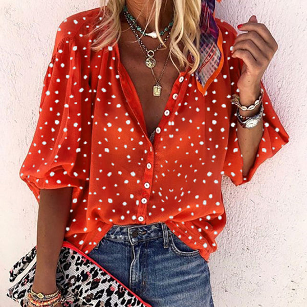Polka Dot Lapel Button Blouse