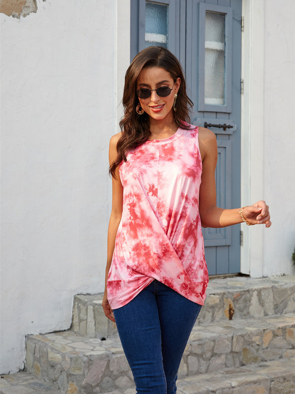 Round Neck Sleeveless Tie Dye Tank Top