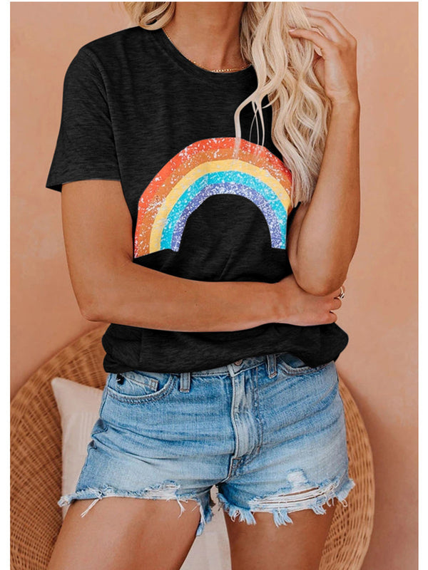 Rainbow Pattern Round Neck Short Sleeve T-Shirt
