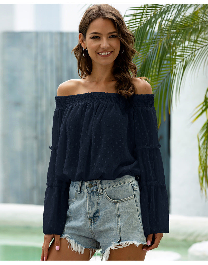 Off Shoulder Casual Chiffon Bell Sleeve Blouse