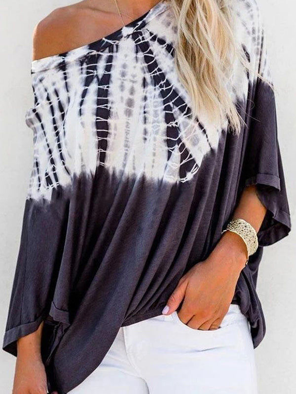 Tie Dye One Shoulder Striped Tops