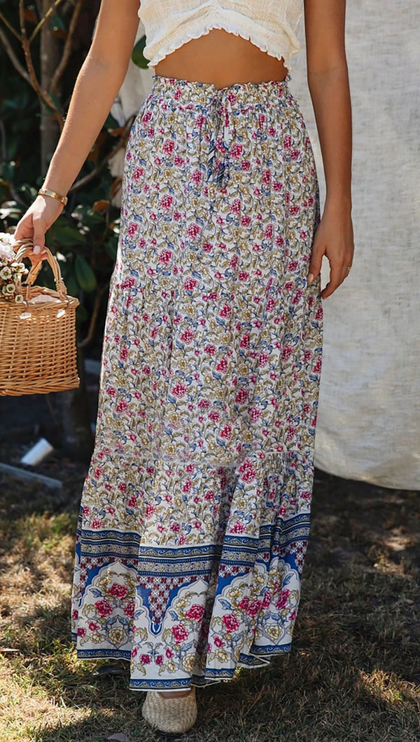 Floral Boho Casual Maxi Skirt
