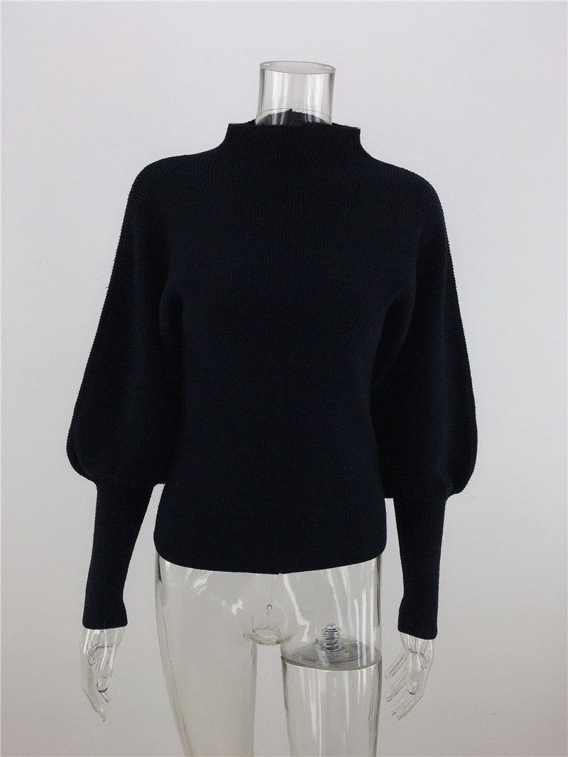 Turtleneck Sweater Casual Long Sleeve Slim Fit Knit Tops