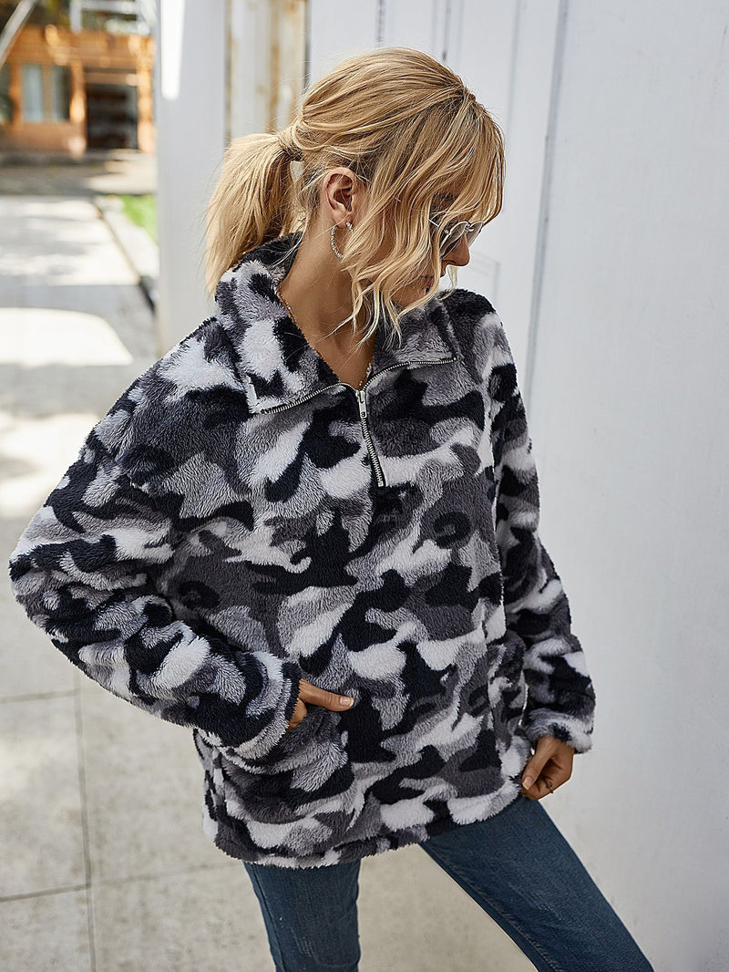 Cozy Oversize Fluffy Fleece Sweatshirt Pullover Outwear