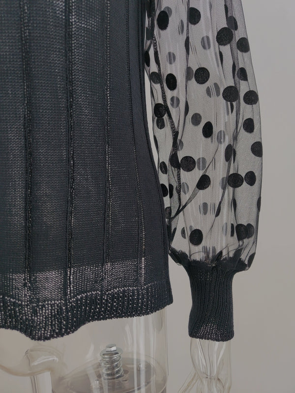 Polka Dot Long Sleeve Transparent Loose Knit Sweater