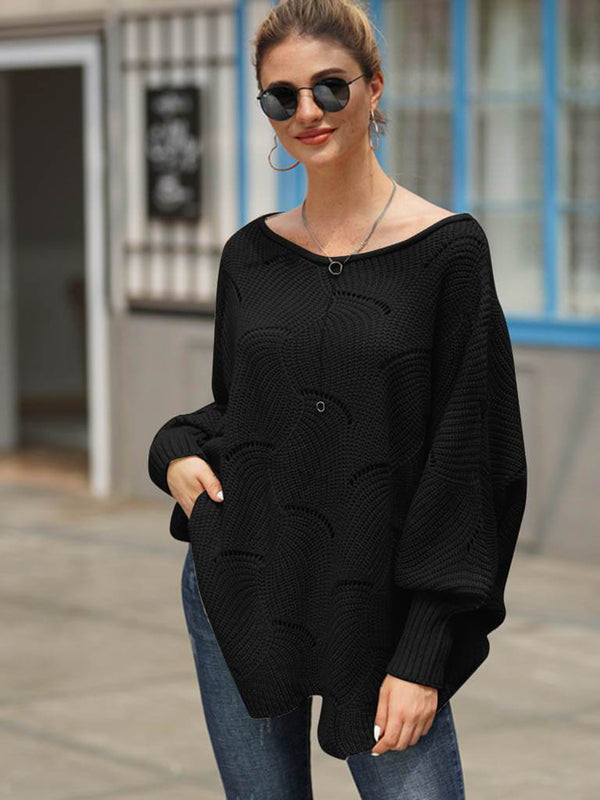 Scoop Neck Oversized Irregular Hem Sweater