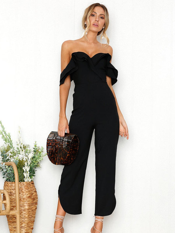 Black Sleeveless Plain Casual Off Shoulder Zip Back Jumpsuit - Landing Closet