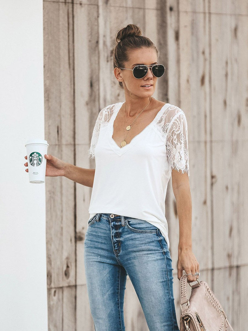 Sweet Side Lace Deep V-neck Top T-shirt