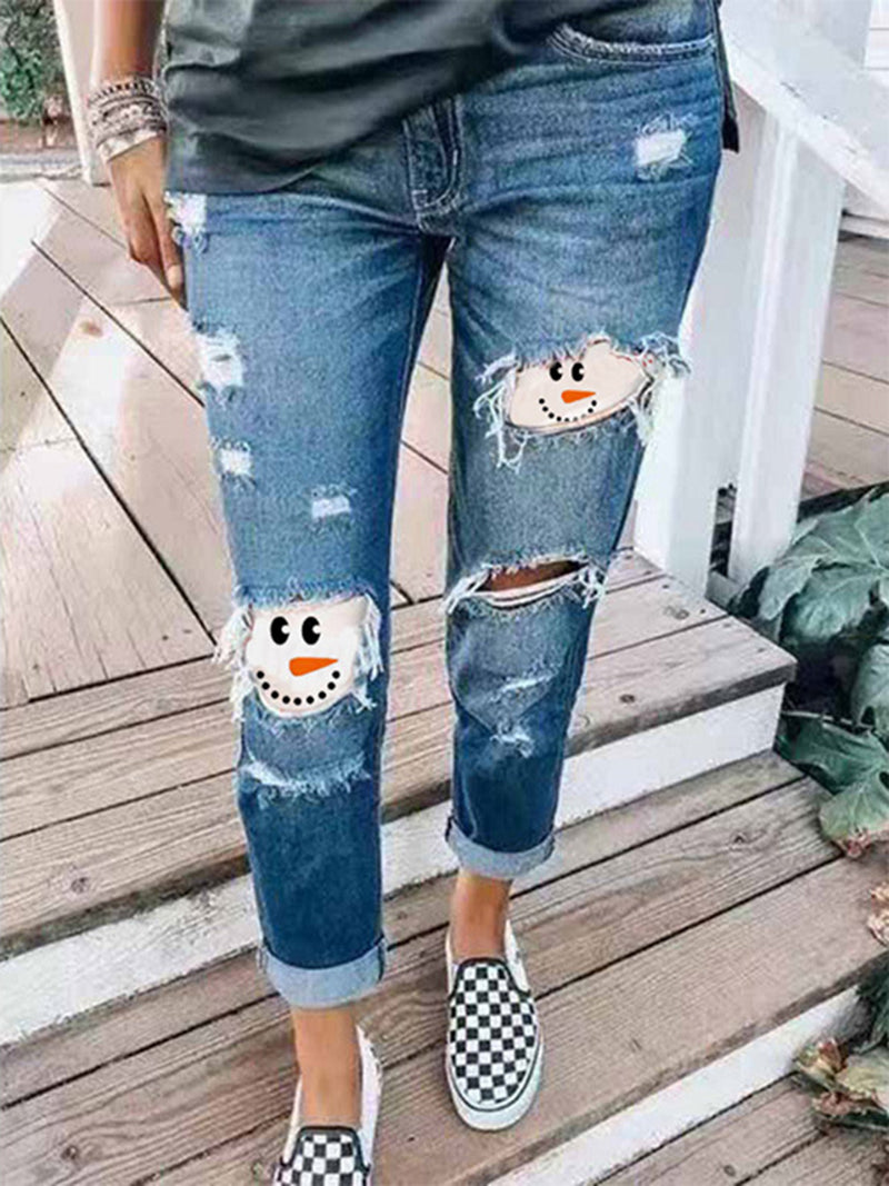 Women's Snowman Face Printed Christmas Jeans