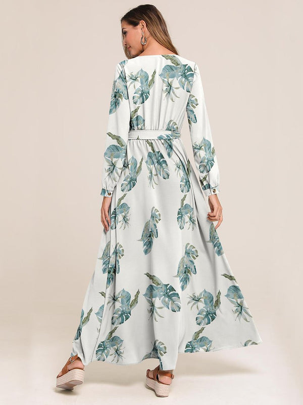 Surplice Neck Floral Print Dress