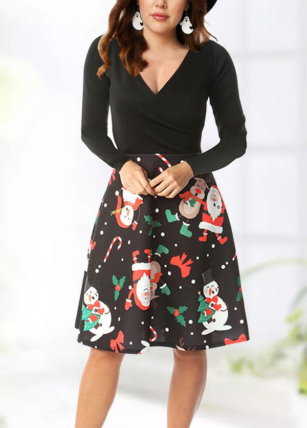 Christmas Round Neck Slim Long Sleeve Dresses