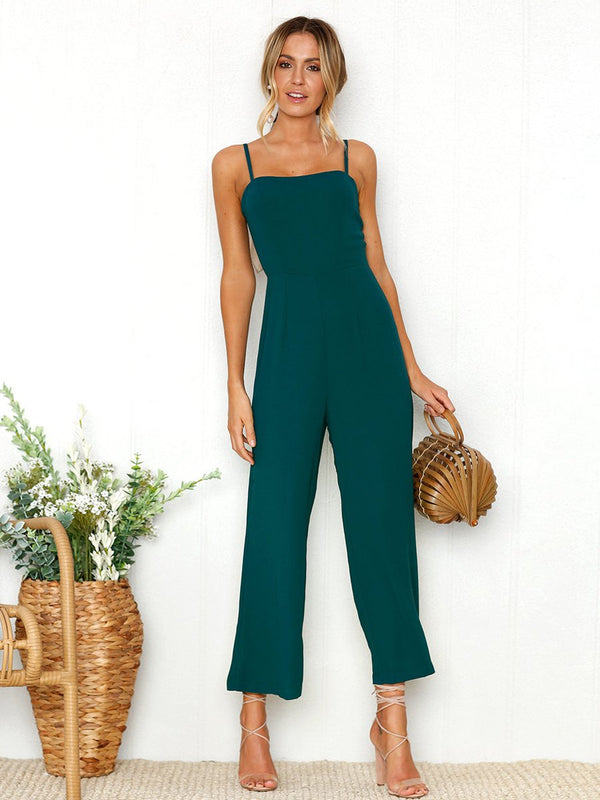 DarkSlateGray Sleeveless Fashion Backless Jumpsuit - Landing Closet