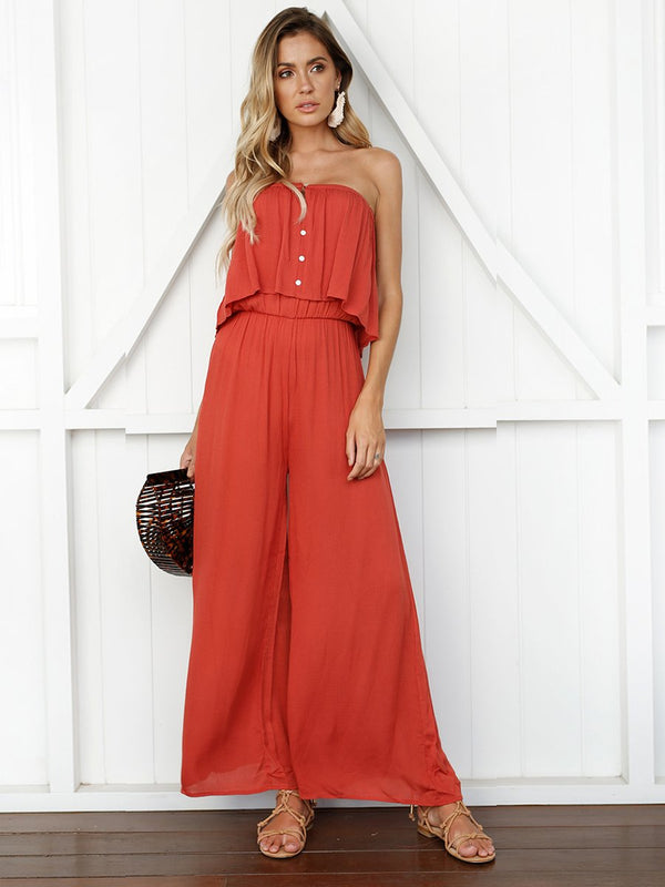 OrangeRed Sleeveless Off Shoulder Backless Jumpsuit - Landing Closet