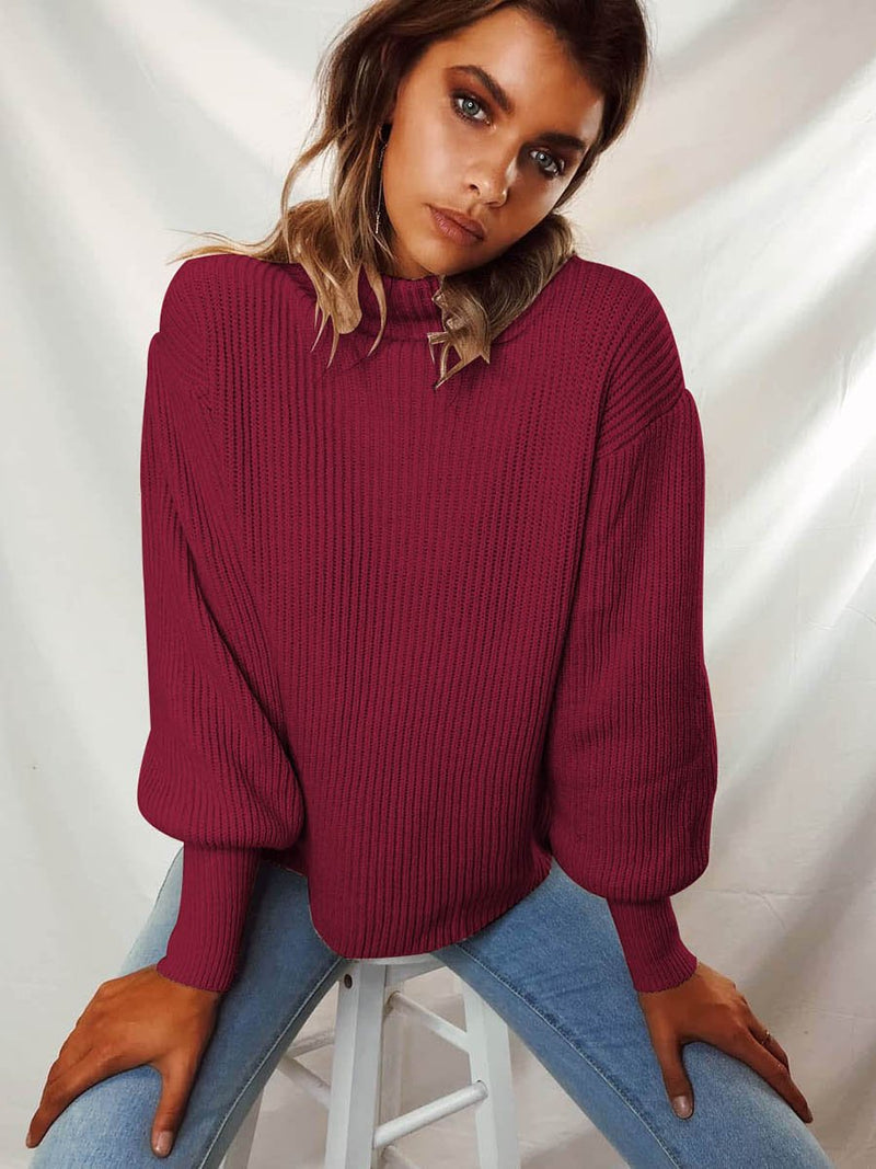 Rolled Neckline Ribbed Cuff Knitted Sweater