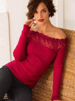 Lace Off Shoulder Ribbed Sweater Top