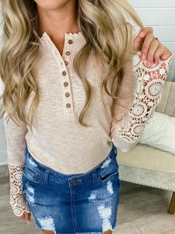 Lace Splicing Hollow Solid Button Blouse