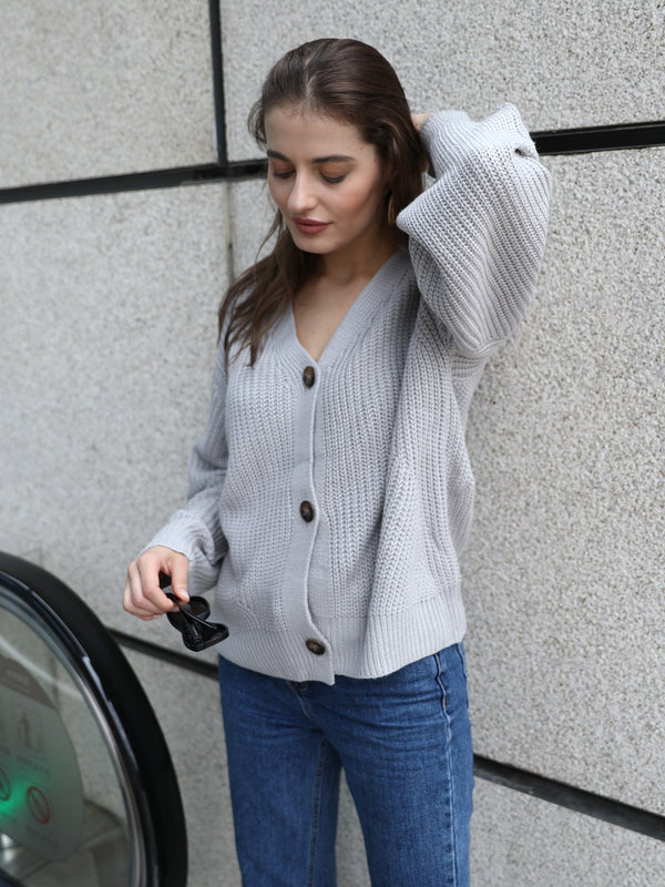 V-neck Knitted Loose Sweater