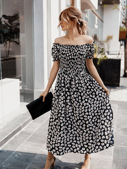 Floral Off Shoulder Split Swing Midi Dress