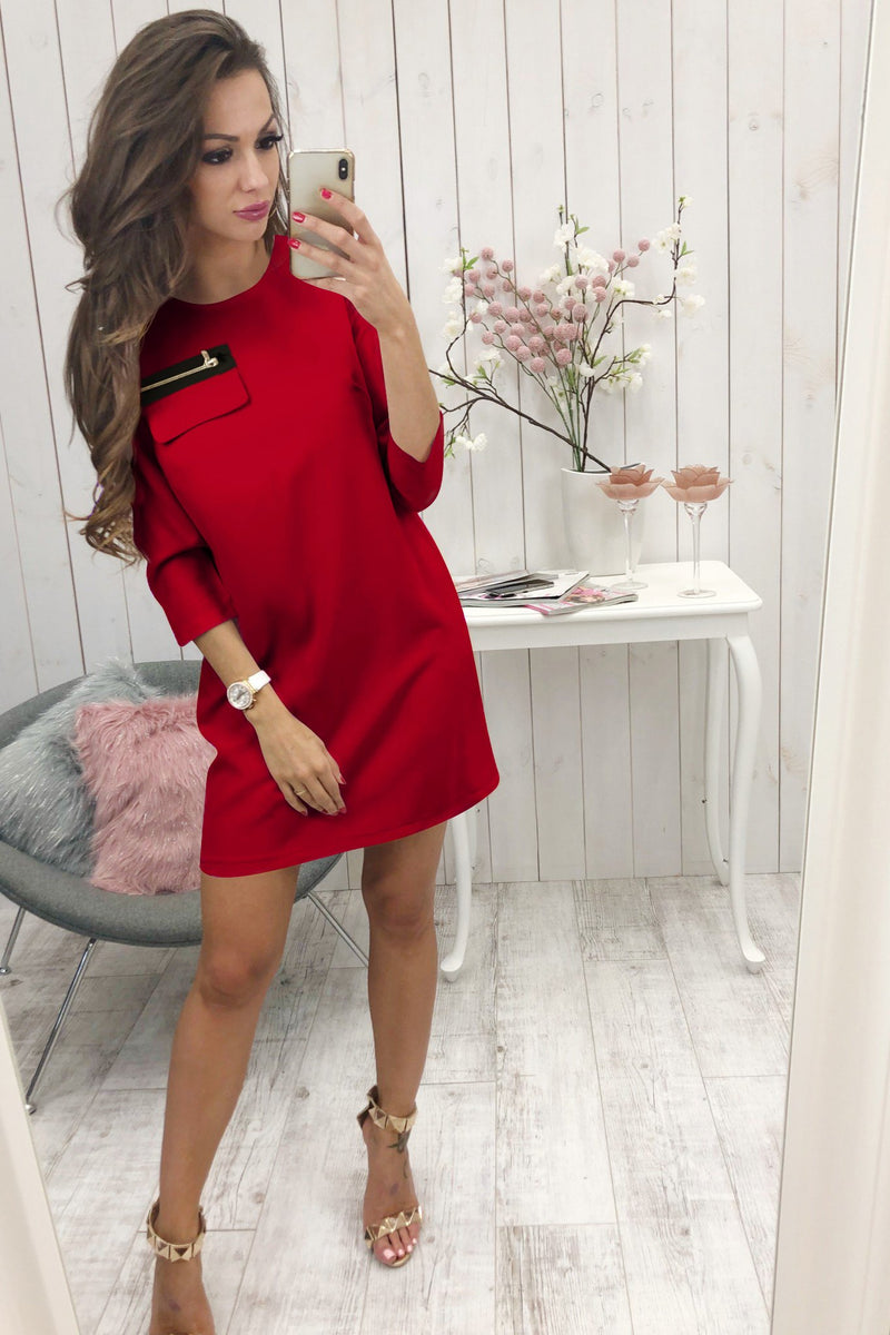 Black 3/4 Length Sleeve Plain Casual Crew Neck Mini Dress - Landing Closet