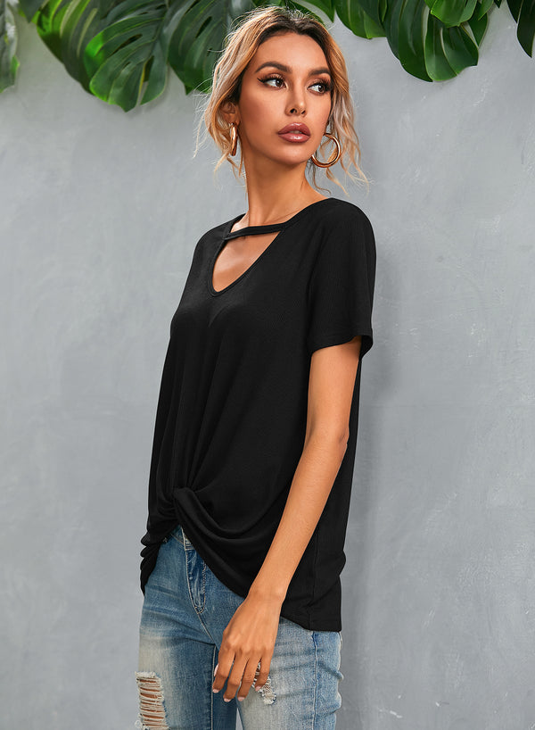 Casual Short Sleeve V Neck T Shirt