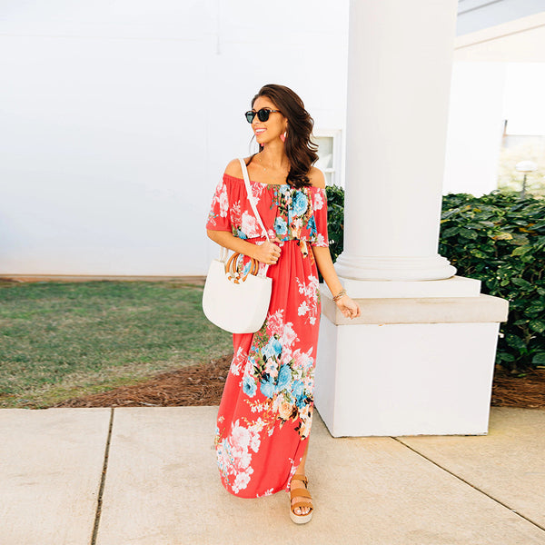 Women Floral Print Off Shoulder Maxi Dresses