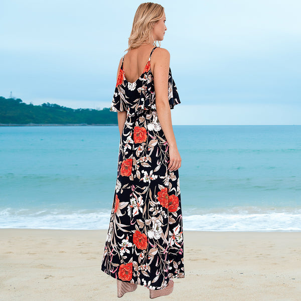 Sleeveless Floral Spaghetti Strap Long Maxi Dress