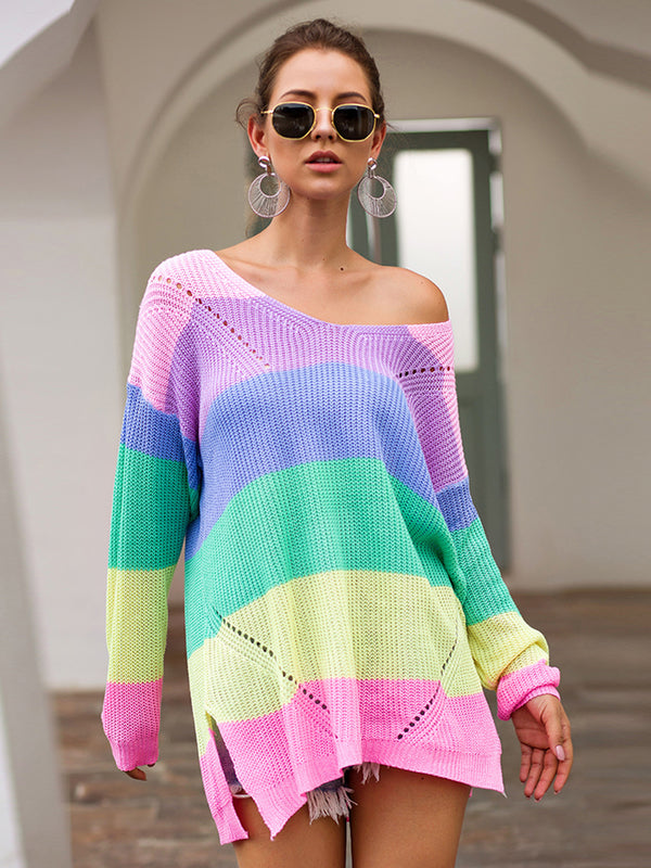 V Neck Color Block Striped Sweater