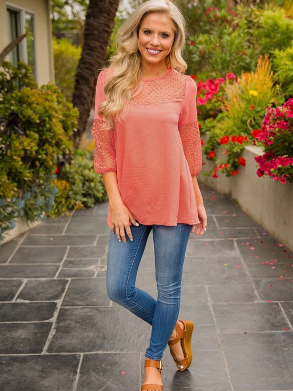 Pink Long Sleeve Casual Crew Neck T-shirt
