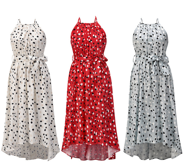 Sleeveless Halter Neck Tie Waist Polka Dot Maxi Dress