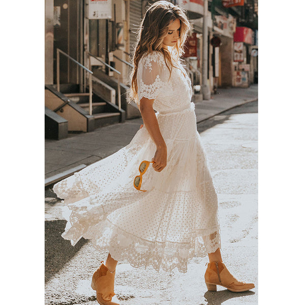 Chiffon Lace Short Sleeve Boho V Neck Maxi Dress