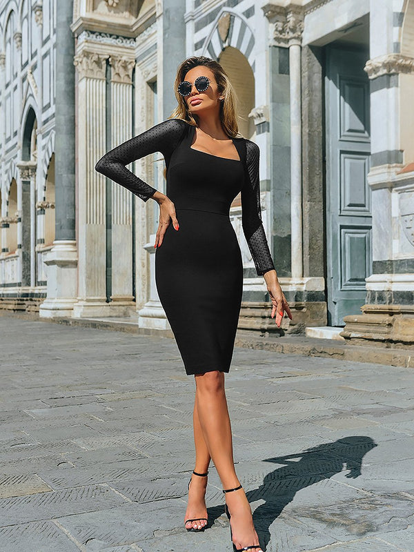 Lace Long Sleeves Low Cut Neck Bodycon Midi Dress
