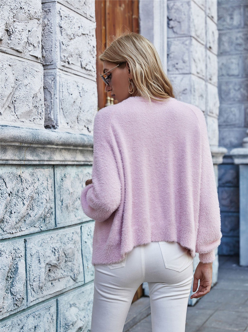 Solid Color Button V-neck Sweater